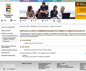 Book Cover: Protocollo Farmaci a Scuola - Ferrara