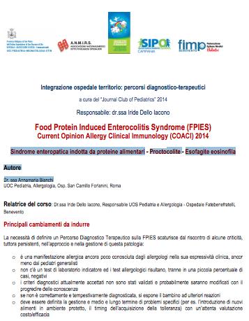Book Cover: Sindrome enteropatica da proteine alimentari