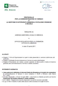 Book Cover: Protocollo Farmaci a scuola - Brescia