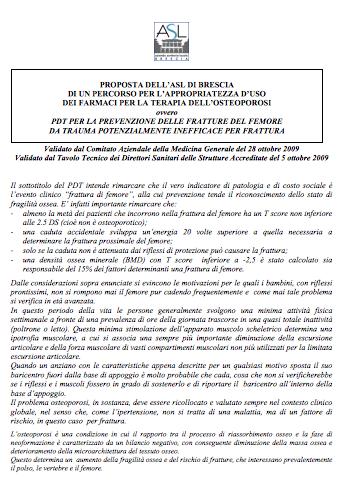 Book Cover: PDTA prevenzione fratture - osteoporosi -ASL Brescia