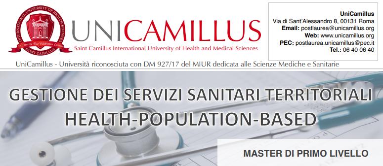 """Book Cover: Master """"GESTIONE DEI SERVIZI SANITARI TERRITORIALI HEALTH-POPULATION-BASED"""" dell'Università Unicamillus di Roma"""