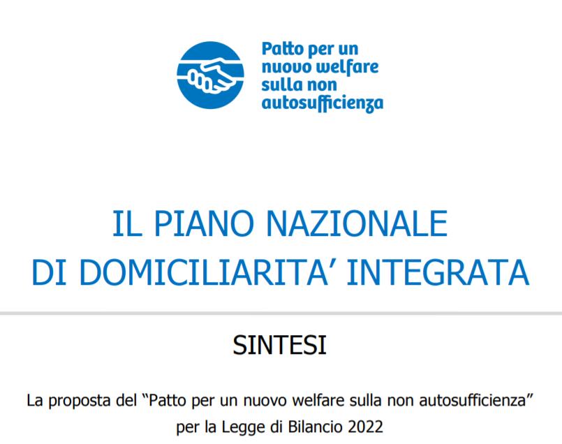 Book Cover: Piano Nazionale Domiciliarità Integrata - La proposta del Patto Non Autosufficienza